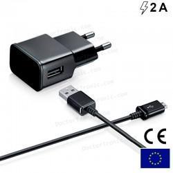 Cargador Red Conector Micro-Usb Universal 2Amp Kit 2 En 1 Negro