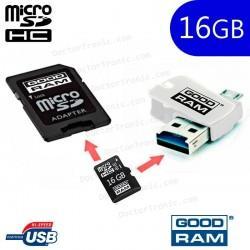 Pen Drive Good Ram USB x16GB OTG Micro-Usb + Micro SD HC