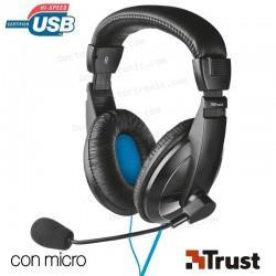 Auriculares Stereo Para PC Quasar Trust Con Micro Negro