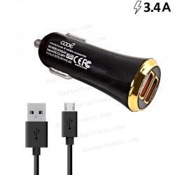 Cargador Coche Universal Doble Entrada Usb (2.4 Amp + 1 Amp) Negro