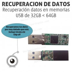 Recuperación datos en memorias USB de menos de 32GB a 64GB