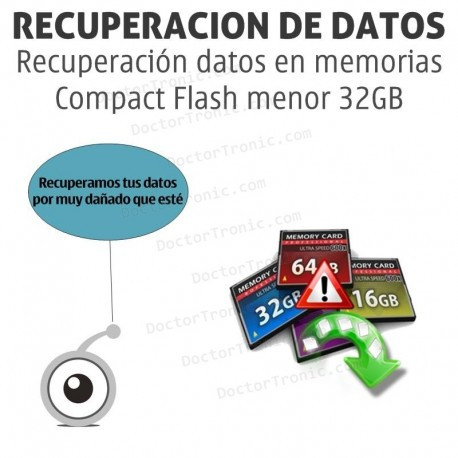 Recuperación datos en memorias Compact Flash menor 32GB
