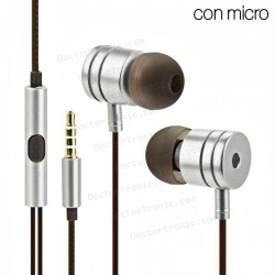 Auriculares Stereo Jack 3,5mm manos libres Metálico