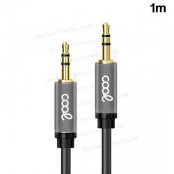 Cable Auxiliar Audio Premium Metálico Gris Doble Jack 3,5 mm (1 M)