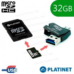 Tarjeta Memoria Micro SD Con Adapt. X32 GB Platinet + OTG Micro Usb (Clase 10)