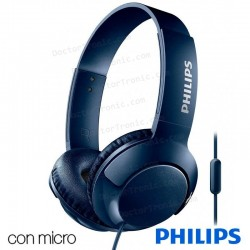 Auriculares Stereo Philips On-Ear Bass+ (Cable Jack 3.5 Mm) Azul