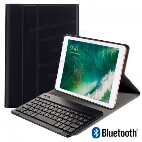 Funda IPad Air / Air 2 / Pro 9.7 / IPad 2017 / IPad 2018 9.7 Pulg Polipiel Teclado Bluetooth (Negro)