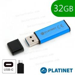 Pen Drive USB X32 GB 2.0 Platinet OTG + Adaptador Tipo C