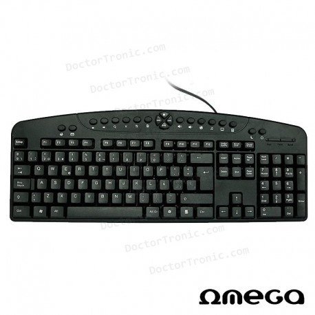 Teclado USB PC Omega Multimedia Aura Negro