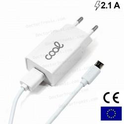 Cargador Red Conector Micro-Usb COOL Universal 2.1Amp Kit 2 En 1