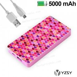 Bateria Externa Micro-Usb Power Bank 5000 MAh Design Hearts YZSY