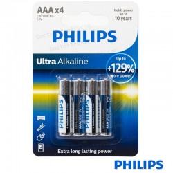 Pila Alcalina AAA Pack 4 Pilas LR03 Philips