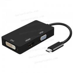 Adaptador USB-C Macho a DVI Hembra/ VGA Hembra / HDMI Hembra