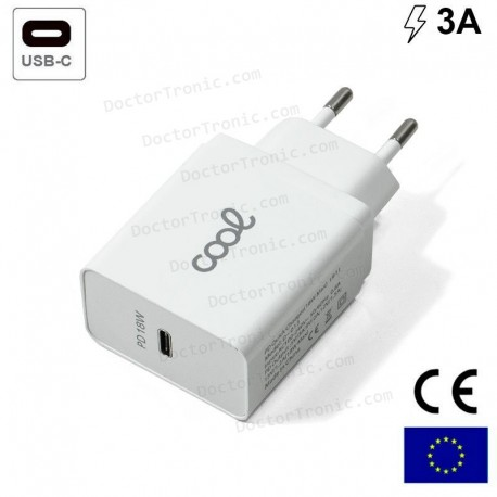 Cargador Red Universal Fast Charger (PD) Entrada Tipo-C COOL 3 Amp (18W) Blanco