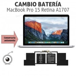"""Cambio batería MacBook Pro Retina 15"""" A1707 Año 2016/2017"""