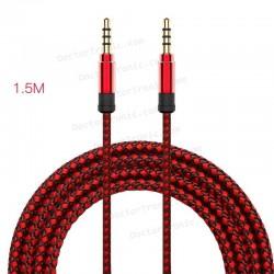 Cable Auxilar Audio Doble Jack 3,5 mm 4 vias