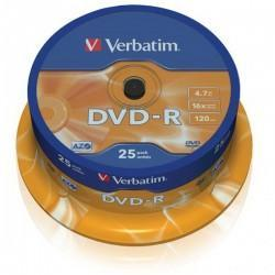 """DVD-R 16x Verbatim """"Matt Silver Azo"""" Tarrina 25 uds"""