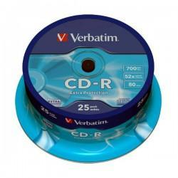 CD-R 52x 700MB Verbatim Extra Protection Tarrina 25 uds