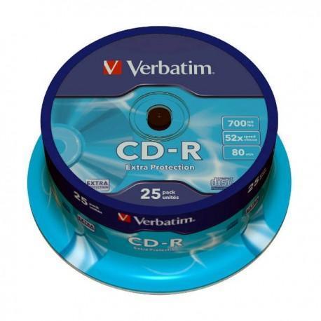 CD-R 52x 700MB Verbatim Extra Protection Tarrina 25 uds