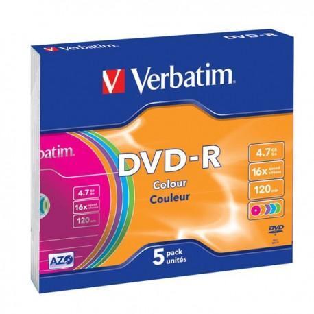 "DVD-R 16x Verbatim ""Colour Azo"" Caja Slim 5 uds"