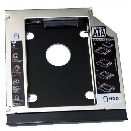 """Adaptador caddy de DVD a HDD 2.5"""" SATA 12,7mm para HP 6535P y otros"""