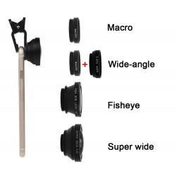 Gran angular Kit 4 - en-1 con clip ultra ángulo + Fish Eye + ancho + Macro Lente de la cámara para el teléfono