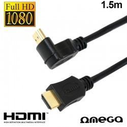 Cable HDMI A HDMI Audio-Video Universal Omega V1.4 Angular (1,5 Metros)