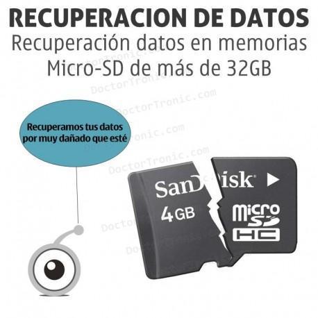 Recuperación datos en memorias Micro-SD más 32GB